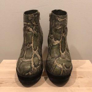 Deena & Ozzy Faux Snakeskin Platform Booties